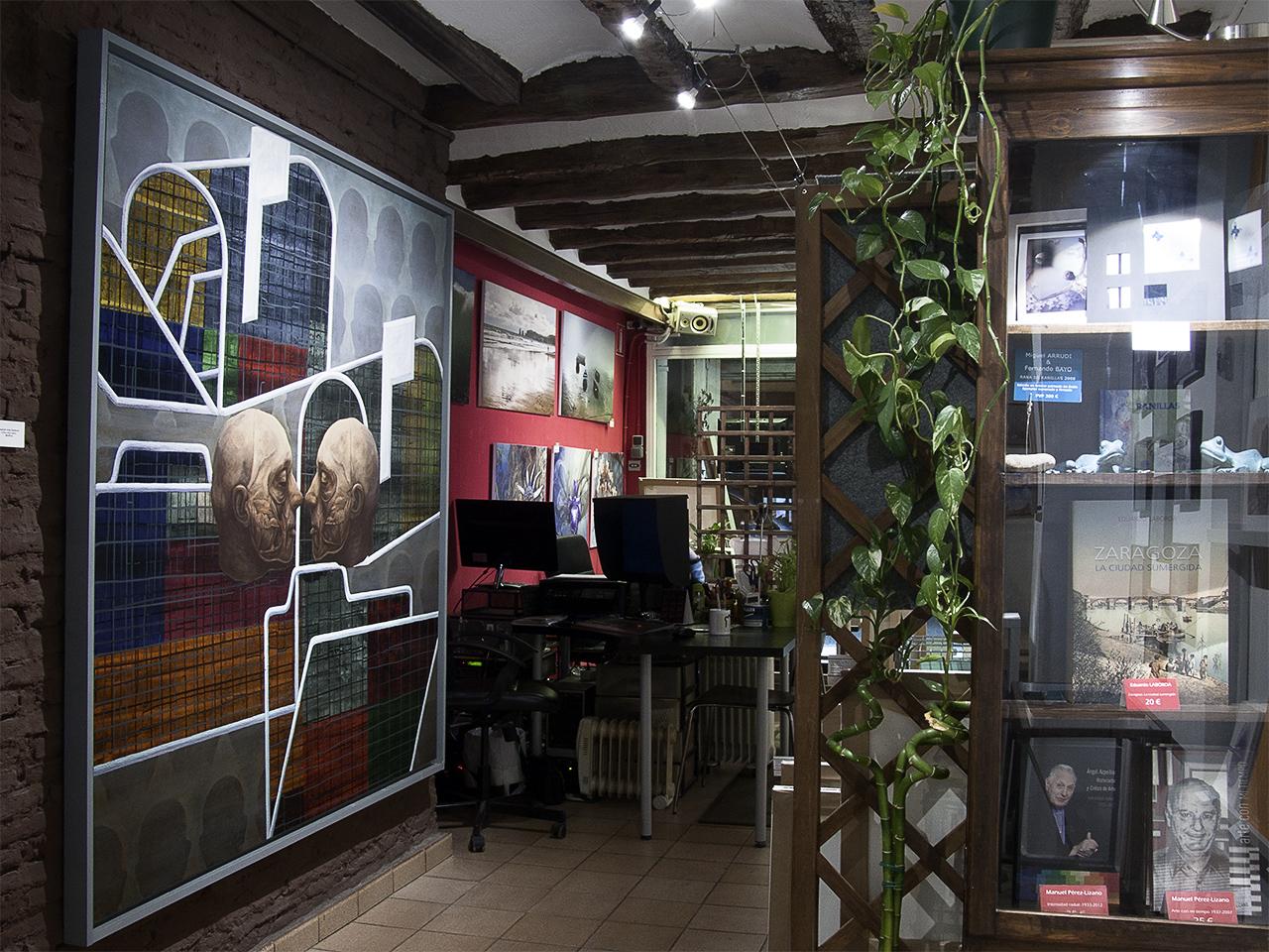 Vista de la exposición de Pedro Flores en Demodo Gráfico